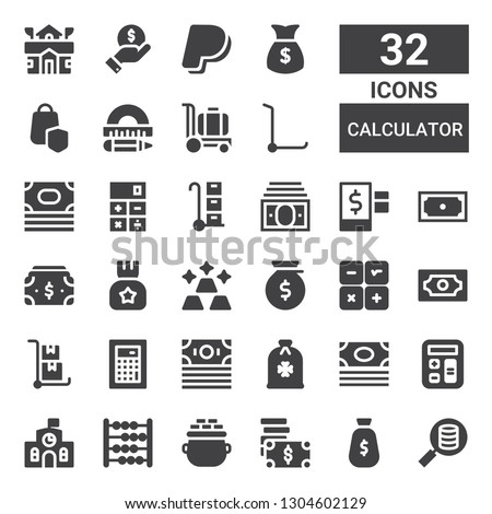 calculator icon set. Collection of 32 filled calculator icons included Money, Gold, Abacus, School, Calculator, Trolley, Credit, Income, Protractor, Secure shopping, Paypal, Finance