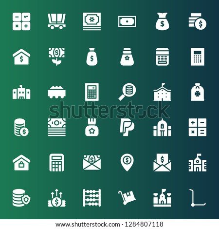 calculator icon set. Collection of 36 filled calculator icons included Trolley, School, Abacus, Money, Taxes, Calculator, Real estate, Paypal