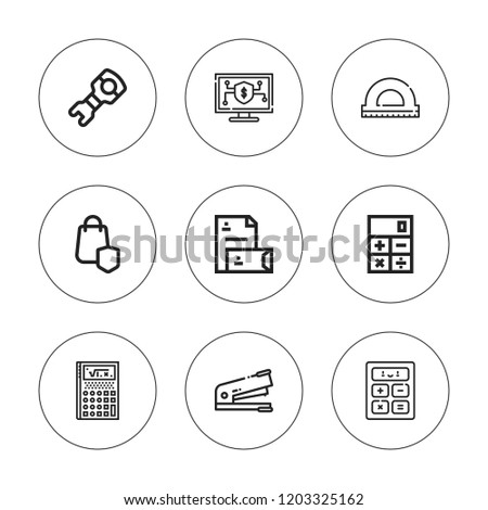 Calculator icon set. collection of 9 outline calculator icons with calculate, calculator, online banking, secure shopping, protractor, stapler icons. editable icons.