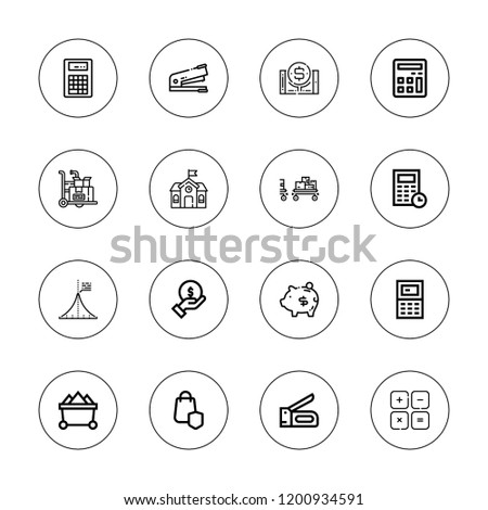 Calculator icon set. collection of 16 outline calculator icons with calculator, finance, mathematics, maths, online banking, piggy, school, secure shopping, stapler icons.