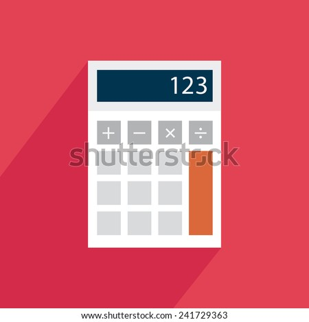 Calculator icon with shadow on a red background