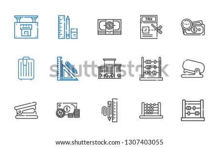 calculator icons set. Collection of calculator with abacus, stationary, money, stapler remover, stapler, office, stationery, trolley, tax. Editable and scalable calculator icons.