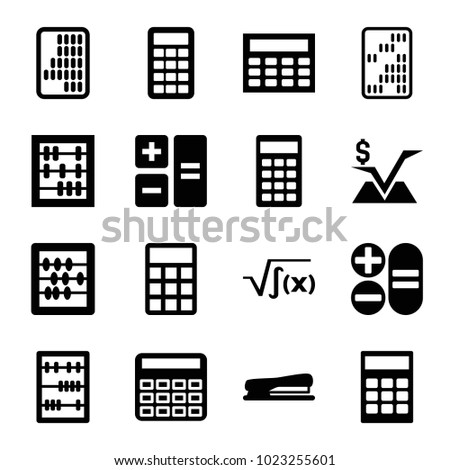 Calculator icons. set of 16 editable filled calculator icons such as calculator, abacus, calclator, stapler, mathematical square