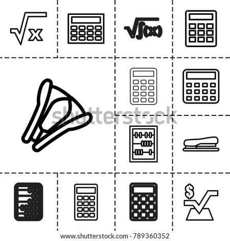 Calculator icons. set of 13 editable outline calculator icons such as calculator, mathematical square, square root, calclator, abacus