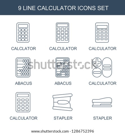calculator icons. Trendy 9 calculator icons. Contain icons such as calclator, abacus, stapler. calculator icon for web and mobile.