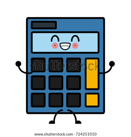 Calculator isolated symbol cute kawaii cartoon