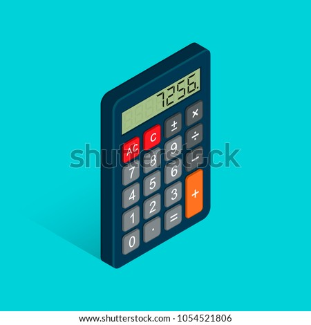 Calculator isometric flat icon. 3d vector colorful illustration isolated on blue background.