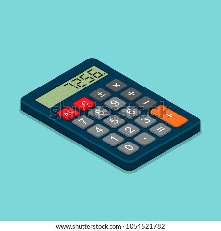 Calculator isometric flat icon. 3d vector colorful illustration isolated on blue background. Top view.