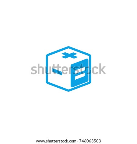 Calculator logo creative mathematics app isometric logotype, 3d cube geometric shape with mathematical signs plus, minus and equals on the faces.