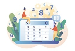 Calculator online or app. Accounting, financial analytics, bookkeeping,  budget calculation, audit debit and credit calculations. Tiny people with calculating. Modern flat cartoon style. Vector