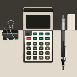 calculator, paper, clip, black metal pencil on a black and white symmetric background, office tools, stationery, financial training. Vector.