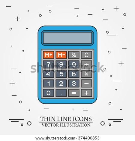 Calculator thin line design.  Vector illustration.
