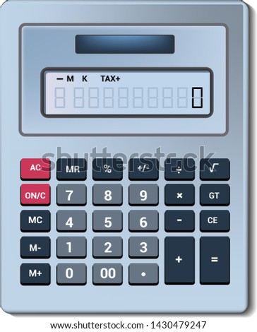 Calculator vector business accounting calculation technology. calculating finance illustration set of mathematical object with buttons. calculated mathematics numbers isolated on white background.
