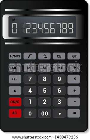 Calculator vector business accounting calculation technology. calculating finance illustration set of mathematical object with buttons. calculated mathematics numbers isolated on white background