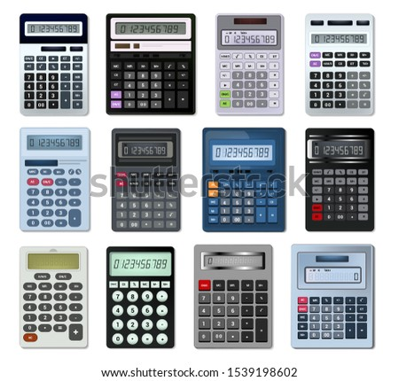 Calculator vector business accounting calculation technology calculating finance illustration set of mathematical object with buttons calculated mathematics numbers isolated on white background.