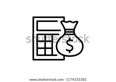 Calculator vector icon. Editable Stroke. 128x128 Pixel Perfect.