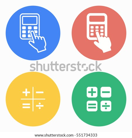 Calculator vector icons set. White illustration isolated for graphic and web design.