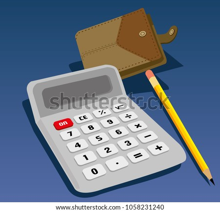 calculator wallet and pencil over blue background vector illustration