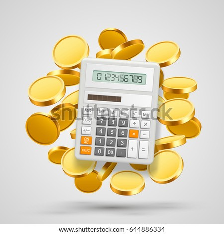 Calculator with coins in the background. Vector illustration