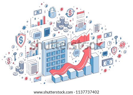 Calculator with earnings growth chart isolated on white background, profit concept. 3d vector business isometric illustration with icons, stats charts and design elements.