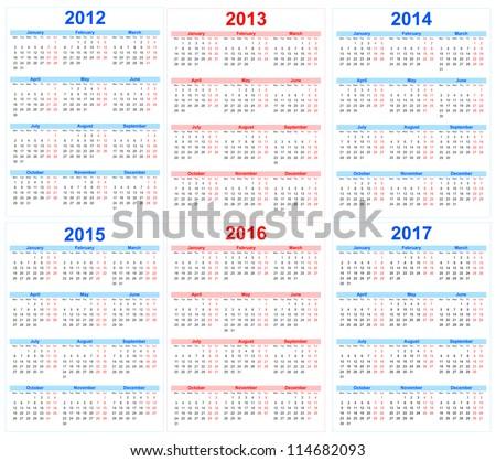 Calendar 2012 2013 2014 2015 2016 2017
