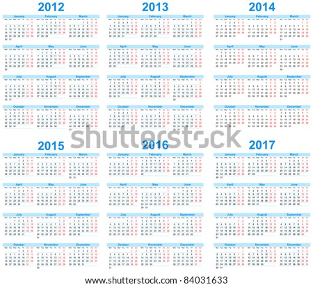 Calendar 2012, 2013, 2014, 2015, 2016, 2017 Сток-фото ©