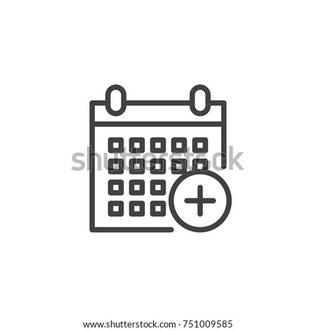 Calendar add line icon, outline vector sign, linear style pictogram isolated on white. Holiday event planner with plus symbol, logo illustration. Editable stroke