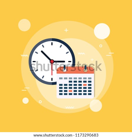 calendar and clock. Concept of class timetable