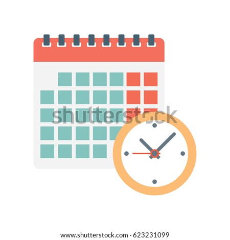 calendar and clock icon. Schedule, appointment, on white background, Vector Illustration