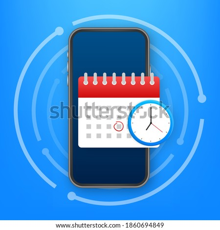 Calendar and clock icon. Wall calendar. Important, schedule, appointment date. Vector stock illustration. Photo stock ©