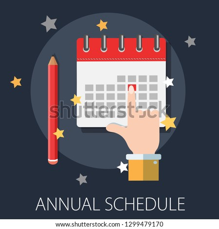 calendar and pencil. Concept of class timetable or schedule, personal study plan creation, learning time planning and scheduling