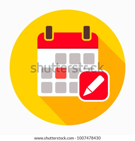 Calendar and pencil icon vector, filled flat sign, solid pictogram isolated on white. Symbol, logo illustration