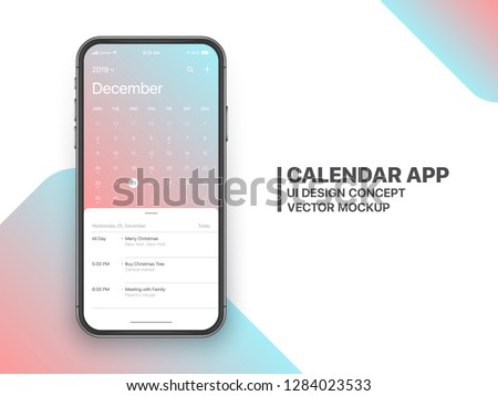 Calendar App Concept December 2019 Page with To Do List and Tasks UI UX Design Mockup Vector on Frameless Smartphone Screen Isolated on White Background. Planner Application Template for Mobile Phone