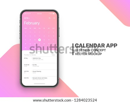 Calendar App Concept February 2019 Page with To Do List and Tasks UI UX Design Mockup Vector on Frameless Smartphone Screen Isolated on White Background. Planner Application Template for Mobile Phone