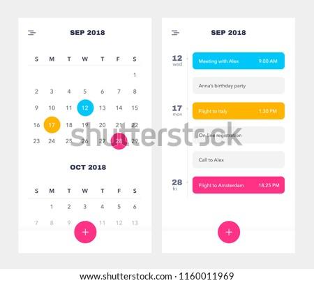 Calendar Application template With To Do List and Tasks UI UX. Design For Mobile Phone. To Do App UI. Event Calendar Application. EPS 10
