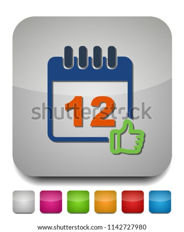 calendar approved date icon, approved sign, business event illustration