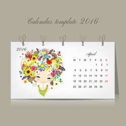Calendar 2016, april month. Season girls design. Vector illustration