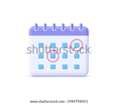 Calendar assignment icon. Planning concept. 3d vector illustration.