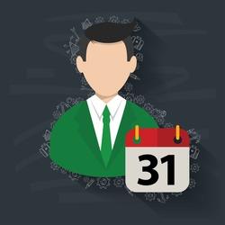 Calendar,Businessman on blackboard background,vector