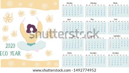 Calendar 2020. Calendar set with yoga woman sitting minimalistic geometric scandinavian style and trendy colors. Week Starts on Sunday. Set of 12 Months minimalist calendars. flat Illustrations