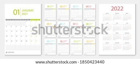 Calendar 2021, calendar 2022 week start Monday corporate design template vector.