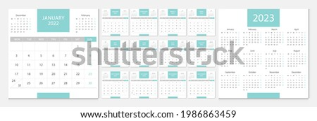 Calendar 2022, calendar 2023 week start Monday corporate design template vector.