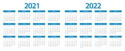 Calendar 2021, calendar 2022 week start Sunday corporate design planner template.
