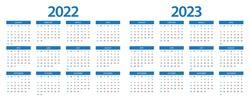 Calendar 2022, calendar 2023 week start Sunday corporate design planner template.