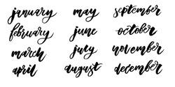 calendar Calligraphy Lettering Day Month Vector Brush illustration