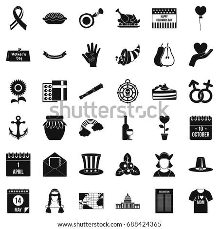 calendar celebation icons set