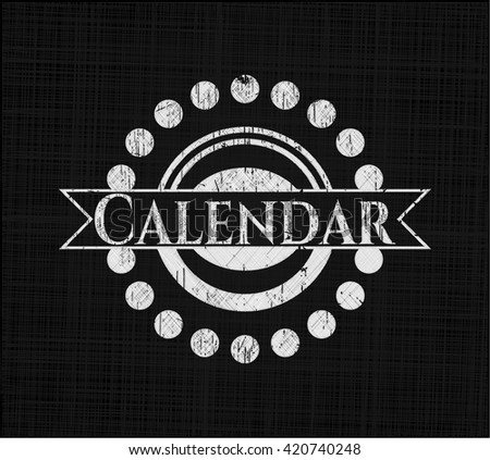 Calendar chalkboard emblem
