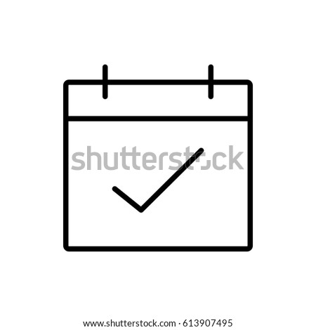 Calendar, check date icon vector illustration. Linear symbol with thin outline. The thickness is edited. Minimalist style. Exclusive quality of execution in material design. Line thickness 20