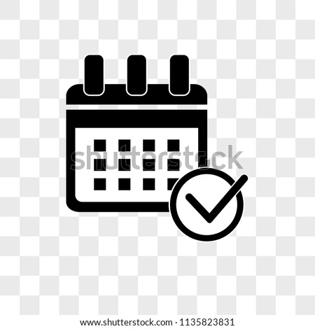 Calendar check vector icon on transparent background, Calendar check icon