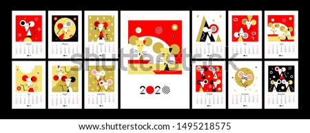 Calendar 2020. Chinese new year 2020. Calender design. Year of the rat, red, gold and black colors. Concept with Illustrations of asian holidays. Week starts on Sunday. Template of calendar. Vector.